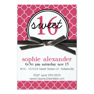 """Cute Hot Pink Sweet 16 Party 3.5"""" X 5"""" Invitation Card"""