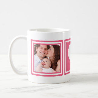 Cute Hot Pink with Heart and 2 Instagram Photos Basic White Mug