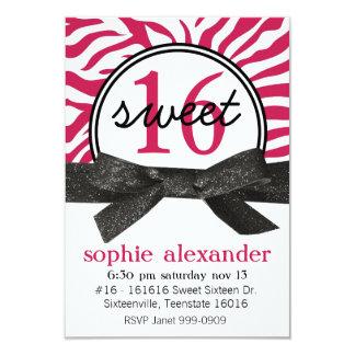 Cute Hot Pink Zebra Pattern Sweet 16 Party 9 Cm X 13 Cm Invitation Card