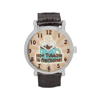 Cute Hot Tub Cocoa and Marshmallows Wristwatches