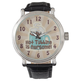 Cute Hot Tub Cocoa and Marshmallows Wristwatch