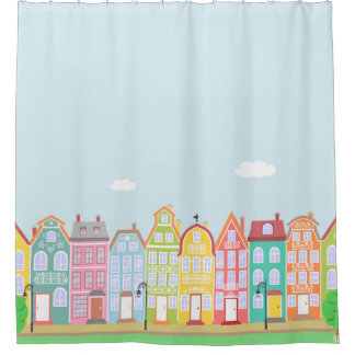 Cute Houses Medieval Town Shower Curtain