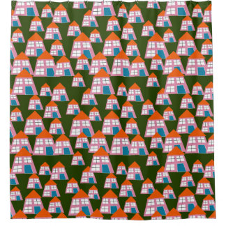 Cute Houses Pattern Shower Curtain