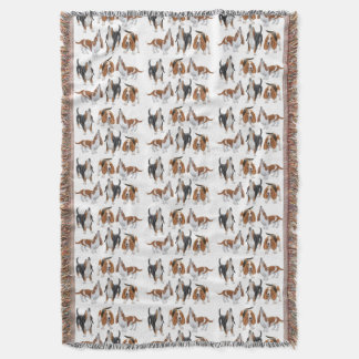 Cute Howling Basset Hound Dogs Throw