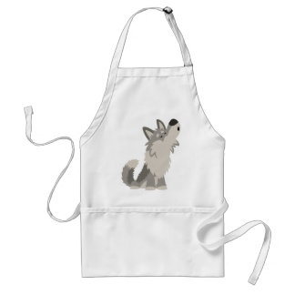 Cute Howling Cartoon Wolf Cooking Apron