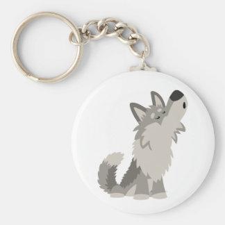 Cute Howling Cartoon Wolf Keychain