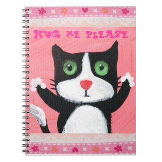 cute hug me kitten spiral notebook