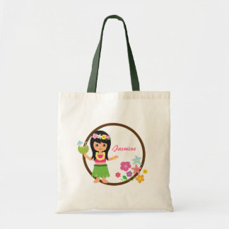 Cute Hula Girl Hawaiian Luau Themed Budget Tote Bag