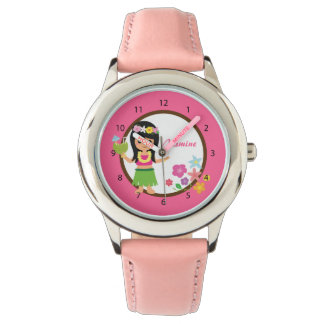 Cute Hula Girl Hawaiian Luau Themed Wristwatch
