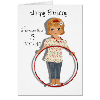 Cute Hula Hoop Girl Personalised Birthday Card