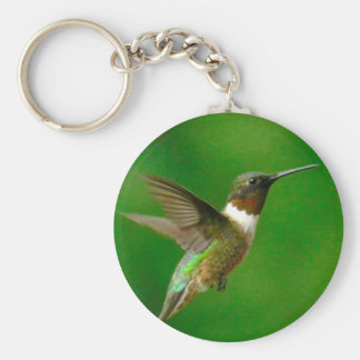 CUTE  HUMMINGBIRD, GREEN HUMMINGBIRD GIFTS BASIC ROUND BUTTON KEY RING