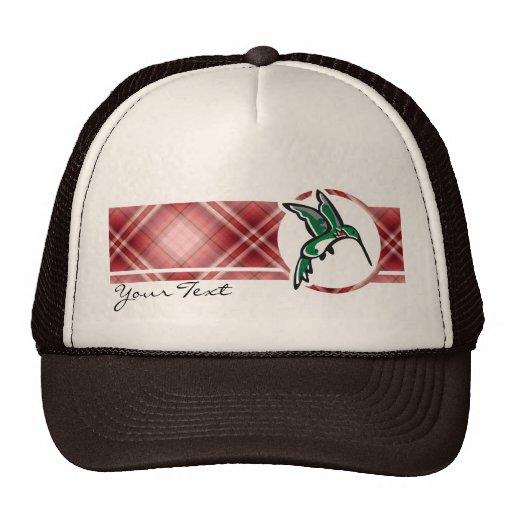 Cute Hummingbird; Red Plaid Hats
