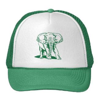 Cute Hunter Green Elephant Line Drawing Trucker Hats