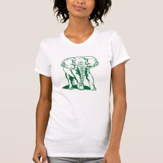 Cute Hunter Green Elephant Line Drawing T Shirt