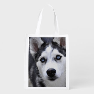 Cute Husky Reusable Grocery Bag