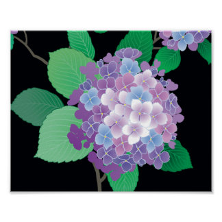 Cute Hydrangea Japanese Floral Fine Art Poster