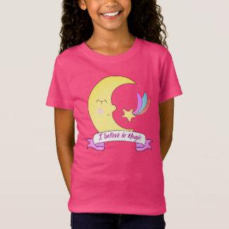 Cute I believe magic moon kids girl t-shirt