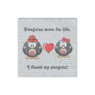 Cute I Found My Penguin Mate for Life Red Heart Stone Magnet