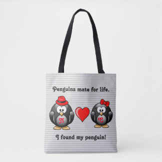 Cute I Found My Penguin Mate for Life Red Heart Tote Bag