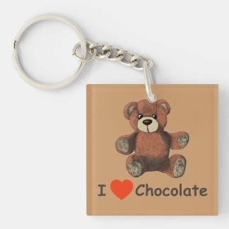 Cute I Heart (Love) Chocolate Teddy Bear Double-Sided Square Acrylic Key Ring