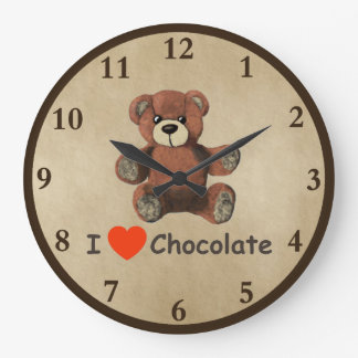 Cute I Heart (Love) Chocolate Teddy Bear Large Clock