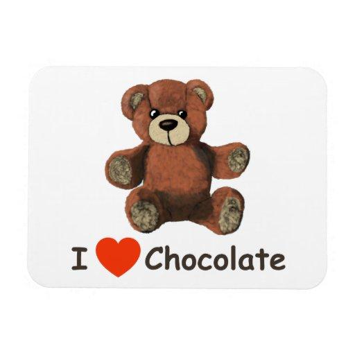 Cute I Heart (Love) Chocolate Teddy Bear Rectangular Magnets