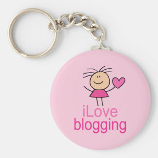 Cute I Love Blogging T-shirt Gift Basic Round Button Key Ring