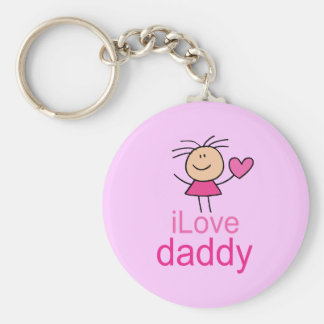Cute I Love Daddy T-shirt Basic Round Button Key Ring