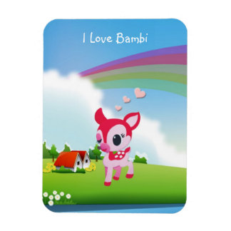 Cute I Love Deer Bambi with Rainbow Country Scene Vinyl Magnet