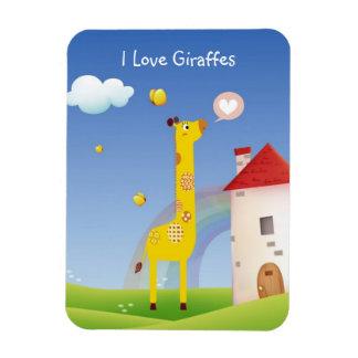 Cute I Love Giraffes with Butterfly Rainbow Castle Flexible Magnet