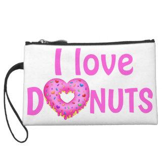 Cute I love heart donuts pink doughnut Wristlet