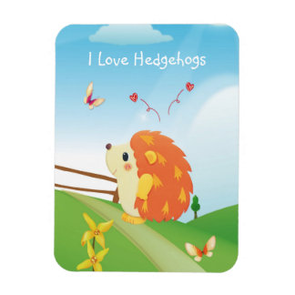 Cute I Love Hedgehog with Butterfly Sunny Day Flexible Magnets