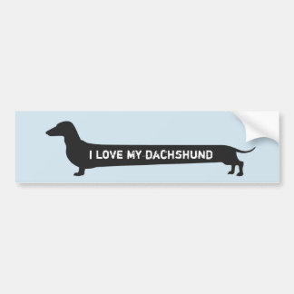 "Cute ""I love my dachshund"" dog silhouette Bumper Sticker"
