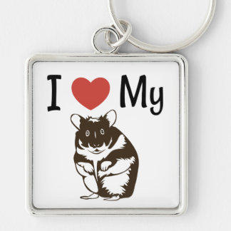 Cute I Love My Hamster Silver-Colored Square Key Ring