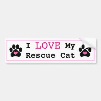 Cute I Love My Rescue Cat Bumper Sticker