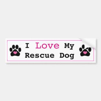 Cute I Love My Rescue Dog Bumper Sticker