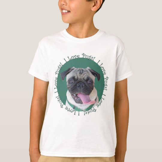 Cute I Love Pugs Dog Design T-Shirt