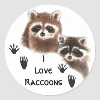 Cute, I love  Raccoon , Animal Nature Quote Classic Round Sticker