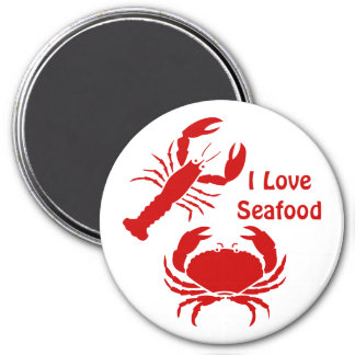 Cute I love seafood 7.5 Cm Round Magnet