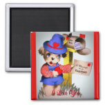 Cute I Love You Vintage Valentine's Day Puppy Dog Square Magnet