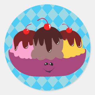 Cute Ice Cream Bowl Classic Round Sticker