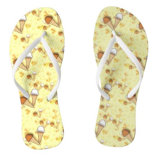 Cute Ice Cream Cones Pattern Adult Flip Flops