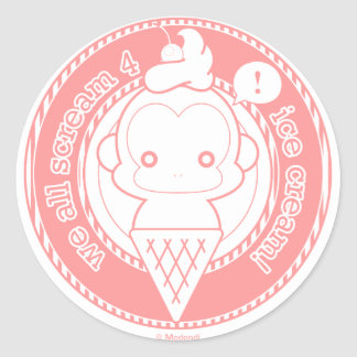 Cute Ice Cream Monkey Classic Round Sticker