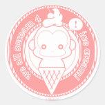 Cute Ice Cream Monkey Round Sticker