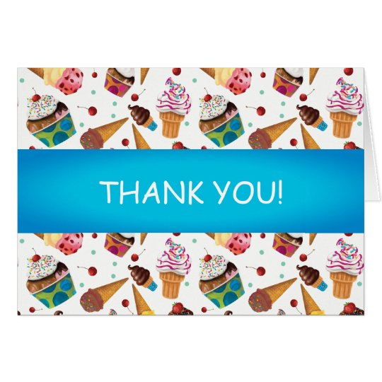 Cute Ice Cream Print Child's Thank You Card