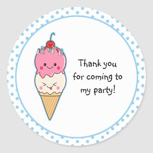 Cute Ice Cream Thank You Round Stickers