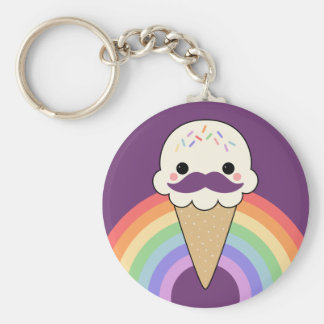 Cute Ice Cream with Mustache Basic Round Button Key Ring