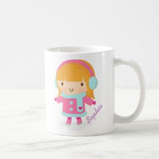 Cute Ice Skater Girl Basic White Mug