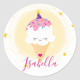 CUTE ICECREAM CONE kawaii illustration sprinkles Classic Round Sticker
