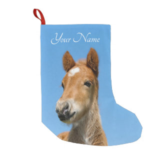 Cute Icelandic Horse Foal Pony Head Front - Name - Small Christmas Stocking